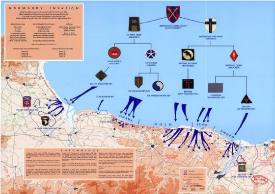 Map of D-Day Normandy, 6th of June 1944 Print/Poster (5166)